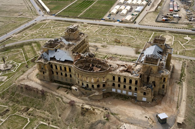Darul-Aman Palace after the heavy destructions.